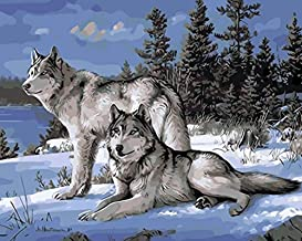 YEESAM ART DIY Paint by Numbers for Adults Beginner Kids, Snow Wolf Two Wolves 16x20 inch Linen Canvas Acrylic Stress Less Number Painting Gifts