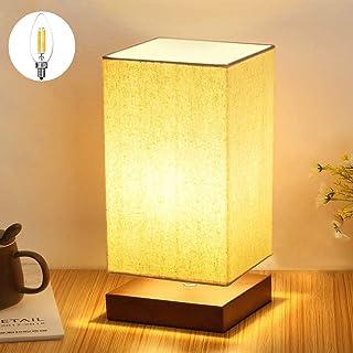 Depuley Lampe de Chevet Abat-jour Tissu, Lampe de Table, Design Moderne et Scandinave, Socle en Bois Naturel et Léger, Cul...