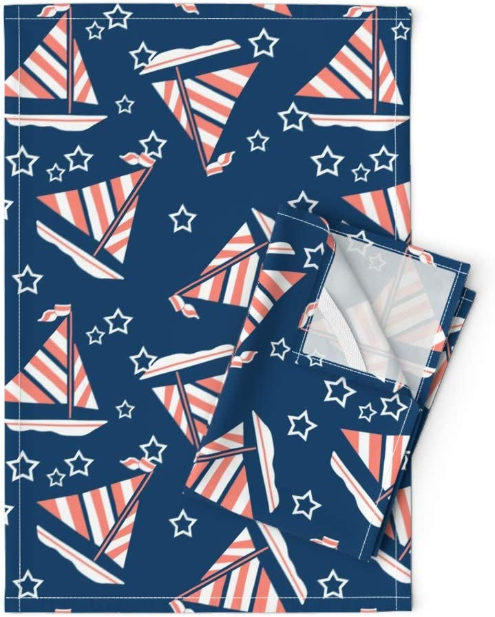 Roostery Tea Popular shop is the lowest price challenge Towels Under blast sales 1950S Boat Blue Print Coral Sailboat Stars