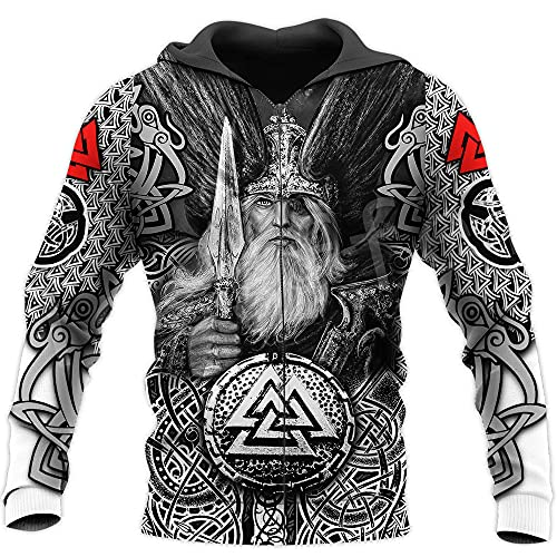 Viking Hoodies Warriors Legend Trucksuit 3D Divertido Unisex Cremallera Sudaderas Chaqueta