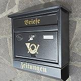 Großer Briefkasten / Postkasten XXL Anthrazit mit Zeitungsrolle Zeitungsfach Schrägdach Trapezdach - 5