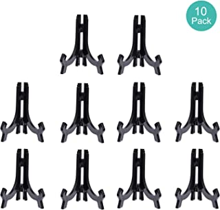 Comgrow 10 Pack 4.3 Inch Upgraded Anti-Slip Acrylic Plate Display Stand, Black Easel Display Stand Photo Holder Stand, Displays Picture Frames, Decorative Plates, and Artworks