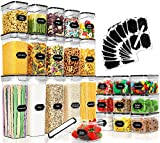 25 Pack Airtight Food Storage Containers Set, PRAKI BPA Free Plastic Dry Food Canisters for Kitchen Pantry Organization and Storage, Kitchen Storage Containers for Cereal, Flour - Labels, Mark(Black)