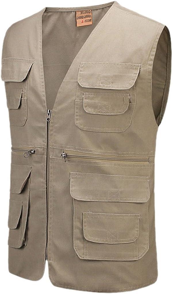 Aufgevals Men's Cotton Multiple Pockets Photography Director Work Vest