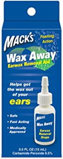 Mack's Wax Away Earwax Removal Aid – 0.5 FL OZ Ear Drops with Foaming Action