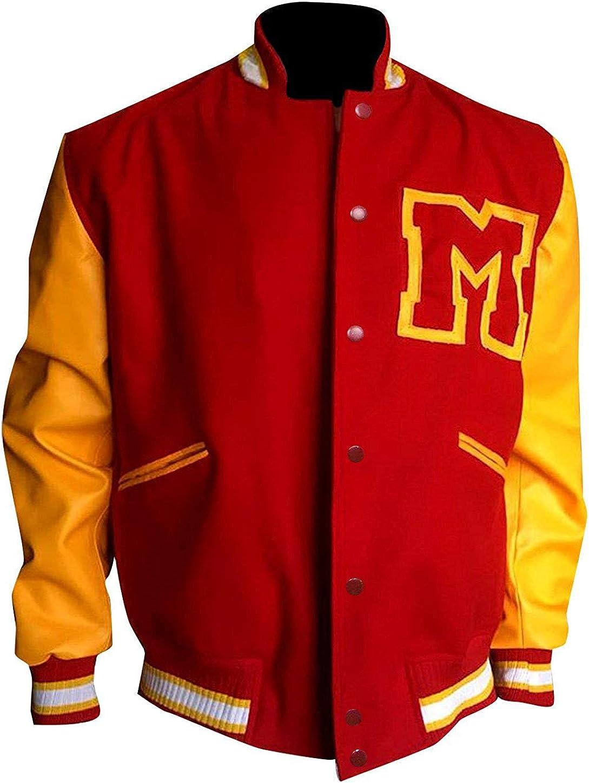 LP-FACON Mens M Logo Letterman Red & Yellow Bomber Varsity Jacket
