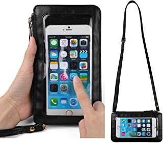Vangoddy Trendy Touch Screen Crossbody Bag Carrying Case for Iphone 7 Plus/Iphone 6s Plus/BLU Dash XL/Vivo XL/Pure XL/Grand 5.5 HD/Life Max/One XL/Energy X Plus 2 (Black)