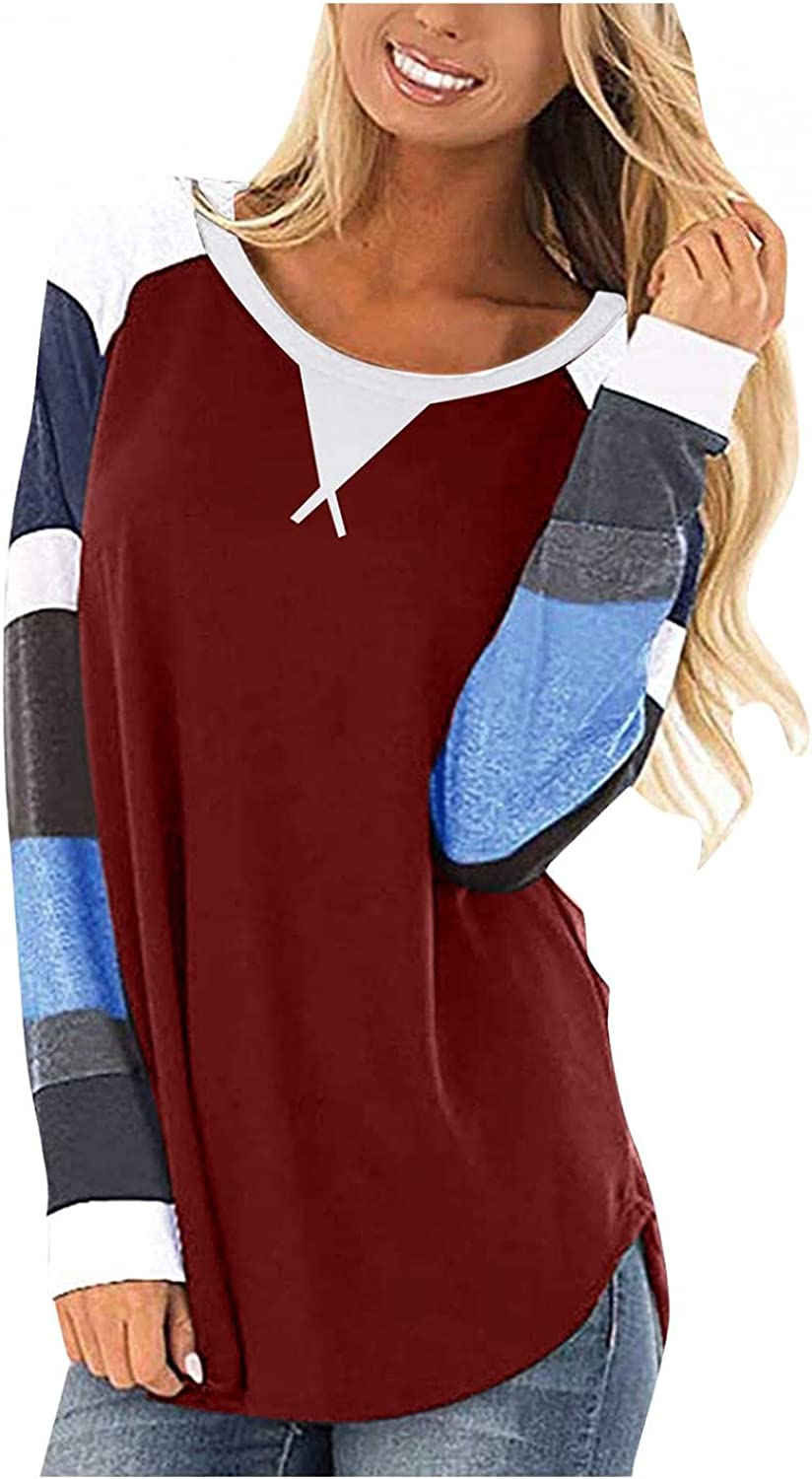 felwors Long Sleeve Shirts for Women, Women Tops Casual Long Sleeve Twist Knot Color Block Tunic Blouse Comfy T Shirts