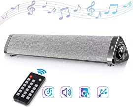 CONBOLA Wireless Bluetooth Soundbar Cloth Shell, Speaker Surround Subwoofer Smart TV Sound Wall Mount Remote Control, Audio Stereo for TV PC Tablets Computer Phones Home Business Office