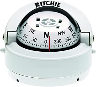 Ritchie Explorer Compass Dial with Surface Mount and 12V Green Night Lighting (White, 2 3/4-Inch)