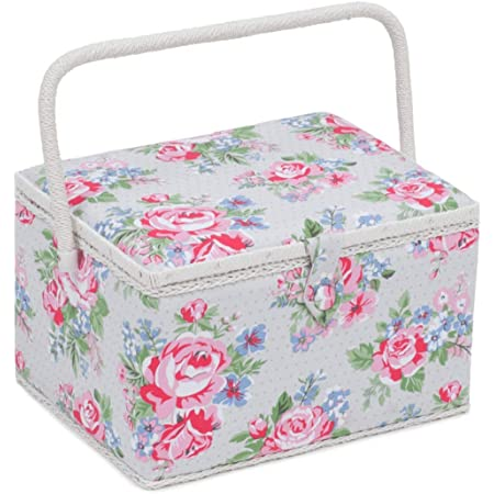 Storage Box Blue Pink Rose Floral Sewing Kit Sewing Basket Sewing Box