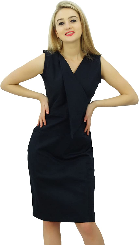 Bimba Women's Casual V Neck Slim Bodycon Formal Work Pencil Dress Sleeveless