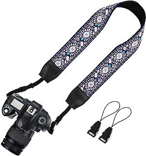 Elvam Universeller Kameragurt für Damen und Herren, Jacquard, Blumenmuster, kompatibel mit allen DSLR Kameras, SLR Kameras, Sofortbildkameras und Digitalkameras – (Pink B)