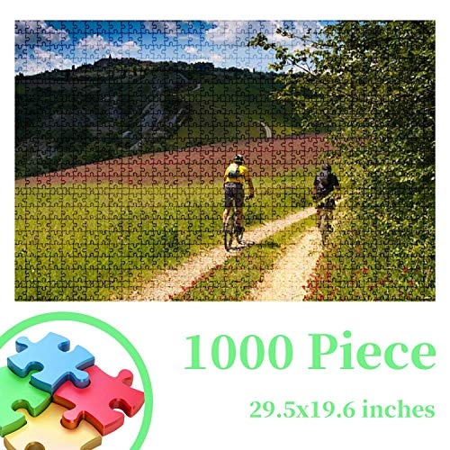 Jigsaw Puzzles - Val d'Orcia Siena Tuscany Italy Excursion in Mountain Bike 1000 PCS for Adults Kids Challenging Decompressing Wooden Puzzles Educational Game Leisure Time Gift Home Decor
