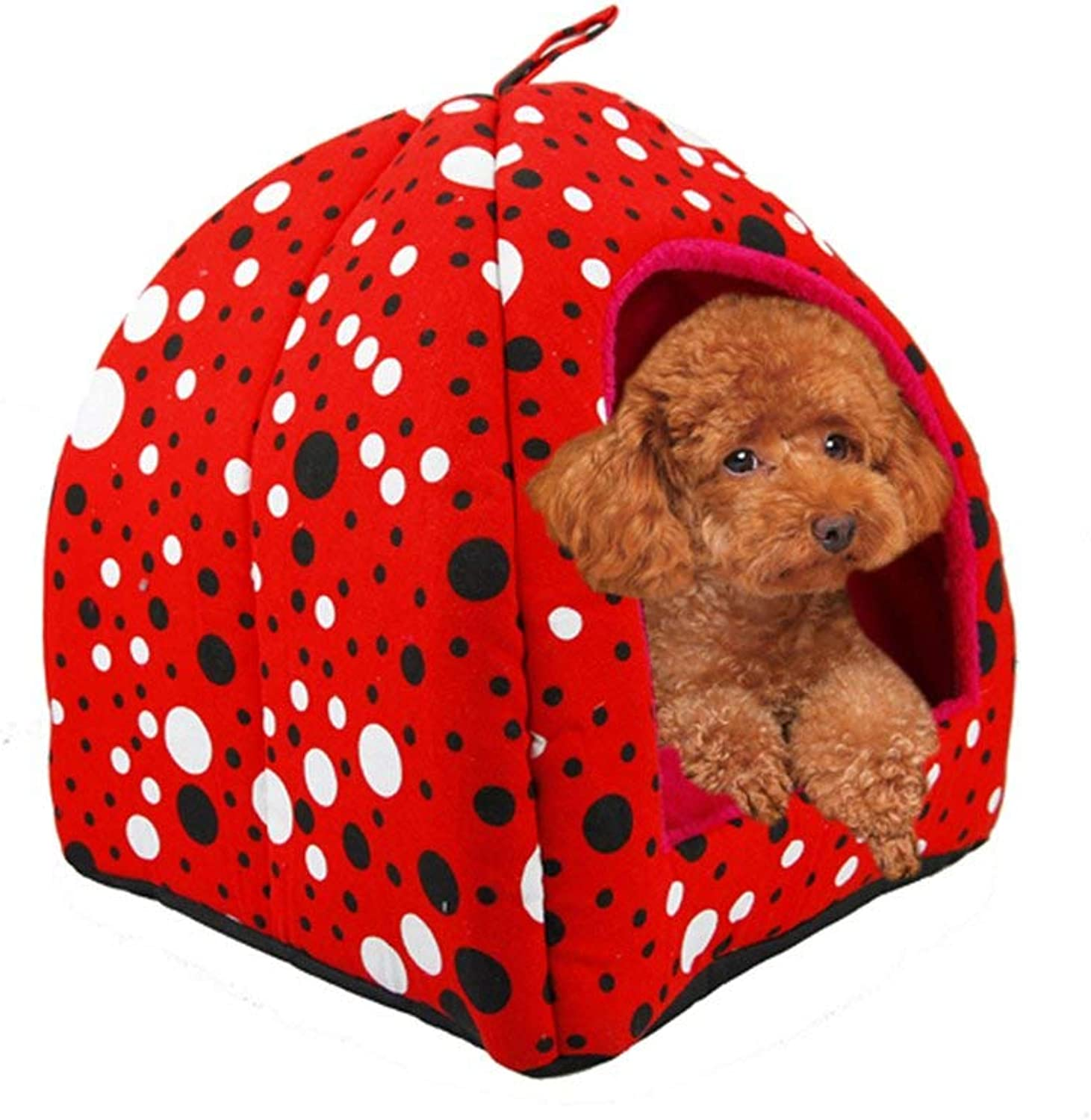 HeiPlaine Pet Sofa Pet Yurt Nest Cat Litter Pet Nest Autumn And Winter House Doghouse Pet Bed Kennel Pet Supplies Indoor Animal Hide Room (color   Big Red, Size   Small)