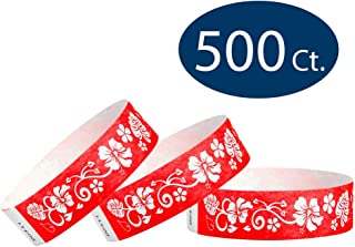 "WristCo Red Hawaiian Flower 3/4"" Tyvek Wristbands - 500 Pack Paper Wristbands for Events"