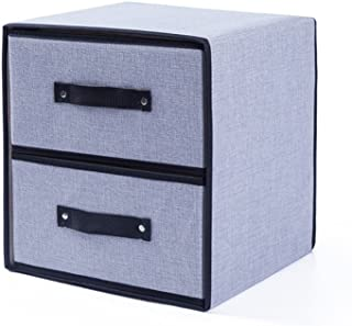 DWW-Panier de rangement Boîte en tissu lavable à deux étages Coton vêtements de lin stockage séparé finition épaississemen...