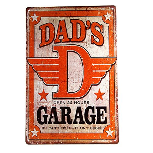 dingleiever-Dad's Garage Tin Metal Sign Decor Funny Humorous Daddy Father