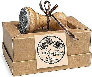 Ex libris, Timbri Personalizzati, Corona Fiori Orchidea, Legno Rotondo 37mm, Scatole Regalo
