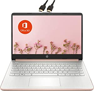 2021 Newest HP Premium 14-inch HD Laptop  Intel Celeron N4020 up to 2.8GHz 8GB RAM 64GB eMMC SSD  Webcam Bluetooth HDMI USB-C Wi-Fi  Windows 10 S with 1 Year Microsoft 365  VAATE Bundle  Rose Gold