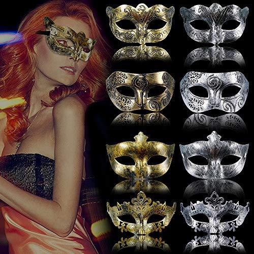 RMENOOR 8 Stück Masquerade Maske Venezianische Masken Antikes Augenmaske Maskenball Fasching Kunststoff Masque Halbmaske für Party Karneval Halloween(Gold/Silber)