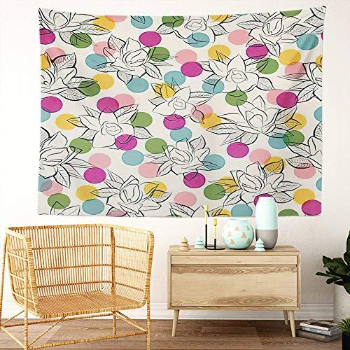 Y·JIANG Magnolia Tapiz, Magnolia Arbusto Floral con Lunares Hogar Dormitorio Decorativo Tapiz Grande Tapiz Amplio para colgar en la pared para sala de estar, dormitorio, 80 x 60 pulgadas