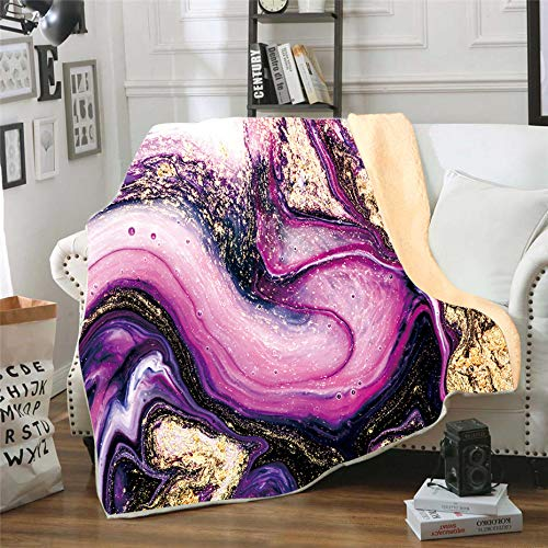 """Fluid Art Flannel Fleece Throw Blanket,SKOLOO Warm Fluffy Cozy Soft TV Bed Abstract Painting Natural Marble Pattern Blanket Comfy Microfiber Velvet Plush Movie Watching Throw Gift,Purple 50"""" x 60"""""""