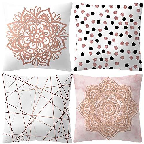 VJGOAL Moda impresión decoración del hogar Rosa Suave Funda de cojín Cuadrado cómodo Funda de Almohada 4 Piezas Conjunto(45_x_45_cm,Rosado9)