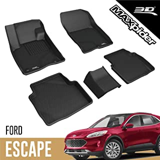 3D MAXpider Complete Set Custom Fit All-Weather Floor Mats for Select Ford Escape Models - Kagu Rubber (Black)