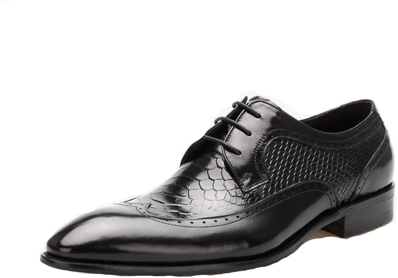 DKFJKI Costumes D'Affaires de Luxe Pour Hommes Chaussures en Cuir Véritable Conseils Lacets Chaussures
