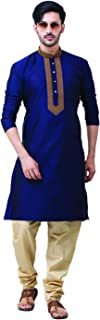 FOCIL Silk Blend Brown Kurta Pyjama with Embroidary for Men