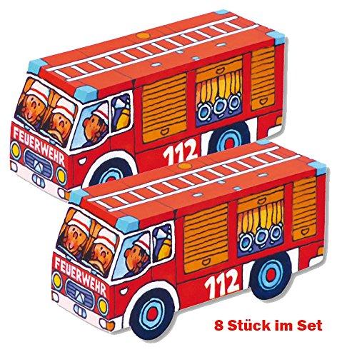 Faltspiel Feuerwehrauto, 8 Stück im Set, Lutz Mauder, Feuerwehrparty, Feuerwehr, Feuerwehrspiel, Mitgebsel, Mottoparty