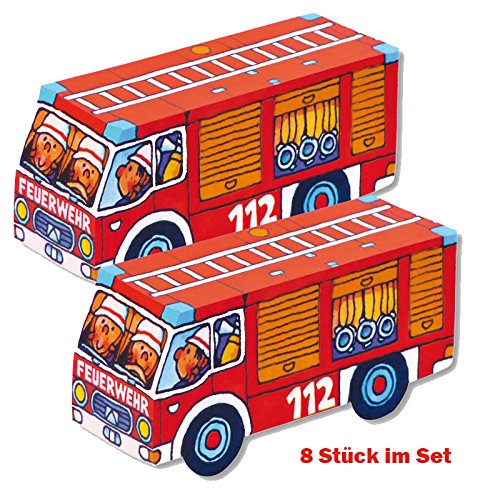 Juego plegable de coche de bomberos, 8 unidades en juego, Lutz Mauder, fiesta de bomberos, juego de bomberos, obsequios, fiesta temática