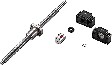 TEN-HIGH Ball Screw CNC parts SFU1605 RM1605 16mm 550mm with Metal Deflector Ball Screw nut + BK/BF12 End Supports+1pcs Coupler with end machining, length Approx 21.65inch / 550mm