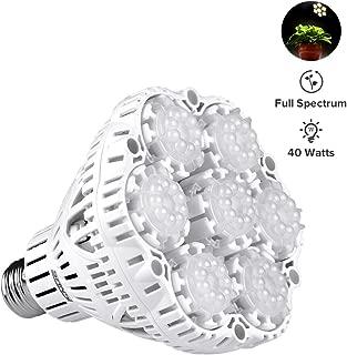 40W Daylight LED Plant Light Bulb Full Spectrum Ceramic LED Grow Light Bulb, E26 Plant Bulb Sunlight White Grow Light for Indoor Garden Farming Greenhouse Grow Walls, UV&IR, 90-132V