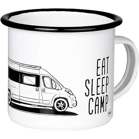 MUGSY.de EAT SLEEP CAMP EXPLORE DRIVE REPEAT - Taza esmaltada retro con furgoneta, ligera y resistente, para camping, Vanlife