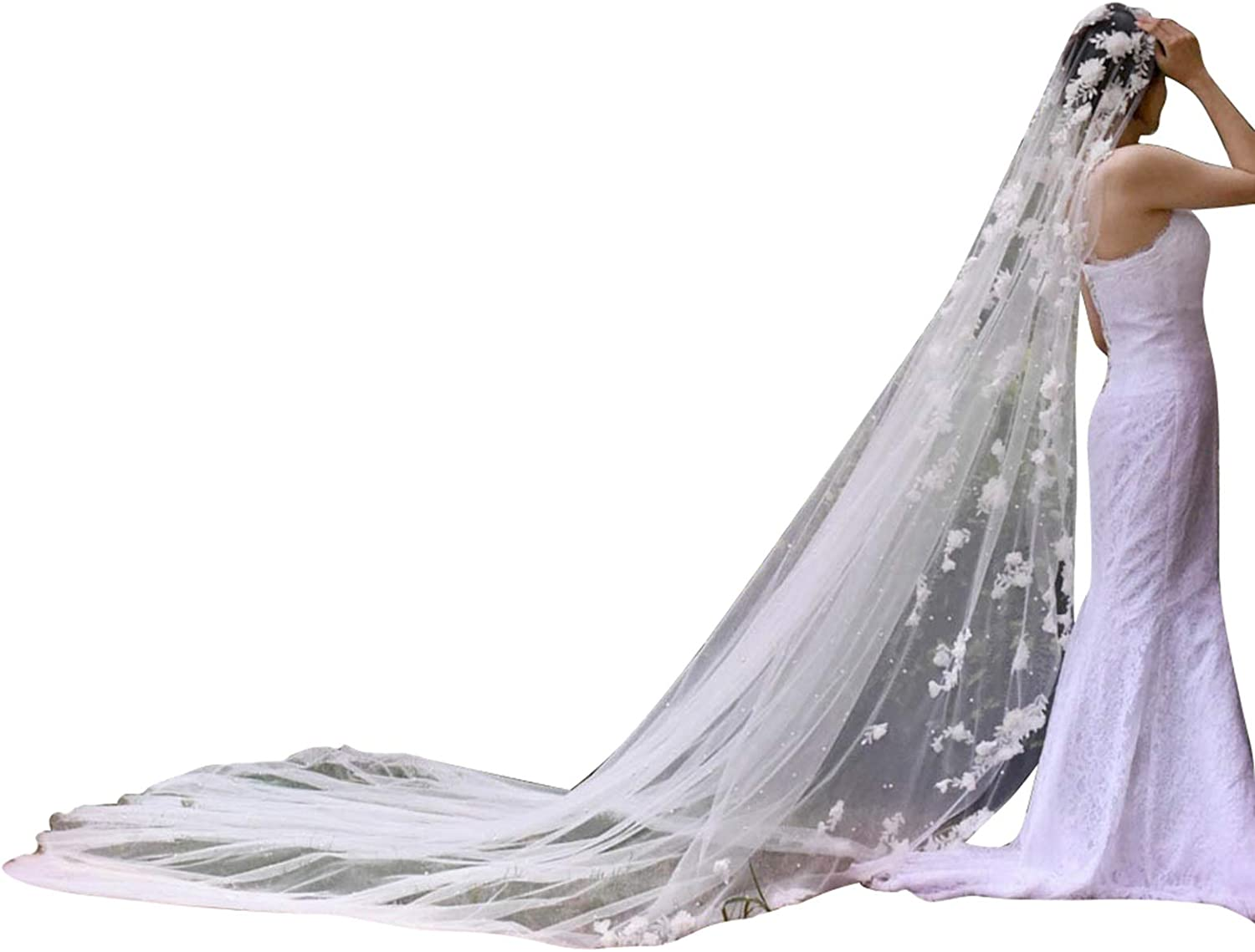 Wedding Veils for Brides Cathedral 1 Tier Flower Lace with Comb Ivory White