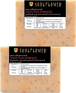 Anti-Tan Tomato Handmade Soap by Soulflower, (5.3Oz x 2 bars) 100% Natural, Organic, Vegan & Coldprocessed - Skin Brightening, lightens Suntan and cleanses skin - USFDA approved, Indian Formulation