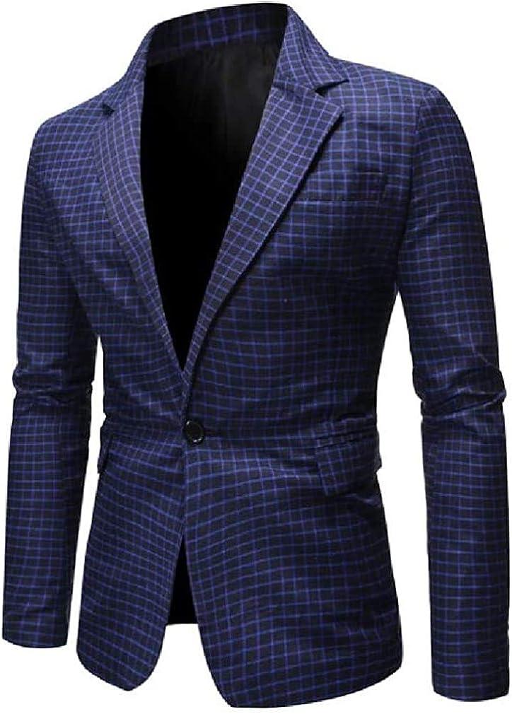 Mens Plaid Lapel 1 Button Casual Slim Fit Dress Blazer Jacket Sport Coat