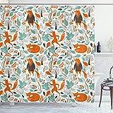ABAKUHAUS Fuchs Duschvorhang, Netter lustiger Zahl-Garten, mit 12 Ringe Set Wasserdicht Stielvoll Modern Farbfest & Schimmel Resistent, 175x200 cm, Türkis Orange Braun
