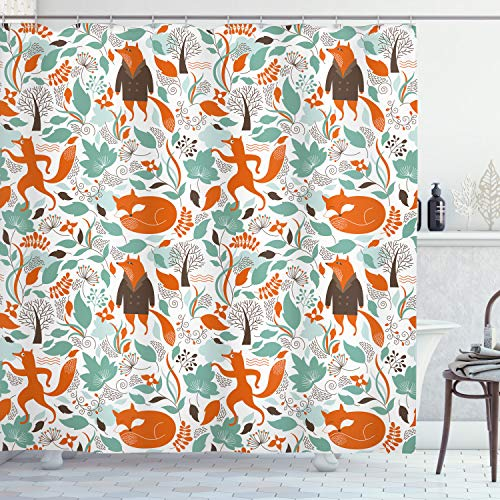 ABAKUHAUS Fuchs Duschvorhang, Netter lustiger Zahl-Garten, mit 12 Ringe Set Wasserdicht Stielvoll Modern Farbfest & Schimmel Resistent, 175x180 cm, Türkis Orange Braun