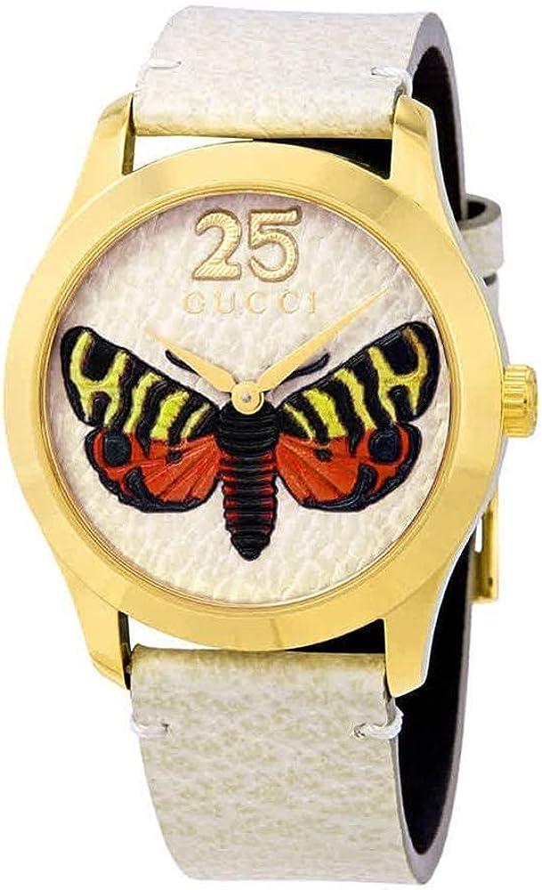 Gucci,orologio unisex,cassa in pvd oro giallo,quadrante in pelle bianca con farfalla,cinturino in pelle YA1264062