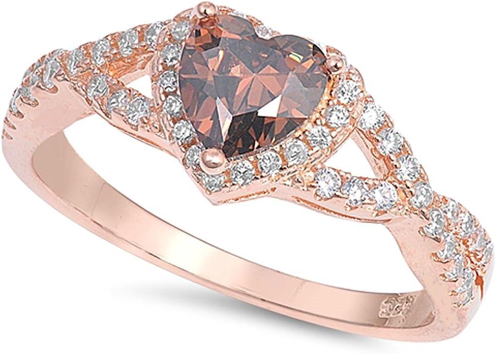 CHOOSE YOUR COLOR Sterling Silver Heart Halo 5 popular [Alternative dealer] Promise Ring