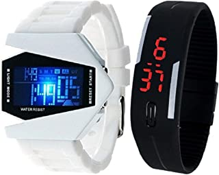 Pappi Boss Pack of 2 WHITE LED Aircraft Model with 7 light Display & Black Digital Silicone Led Band wrist watch --- Digital Display