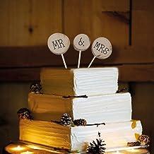 Veewon Mr & Mrs de Madera Redondo Shabby Chic rústico Boda decoración para Tarta para Pick decoración Favor