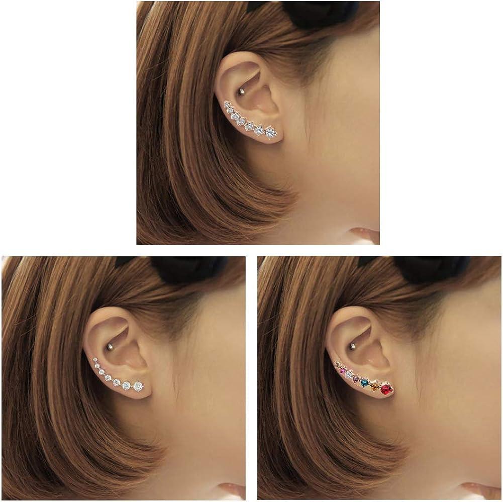 GUUTUUG 3 Pares Pendientes con Orejeras 7 Pendientes de Cristal Pendientes de aro Pendientes de Escalada Pendientes de Pun ¢ o de Diamante de Plata ...