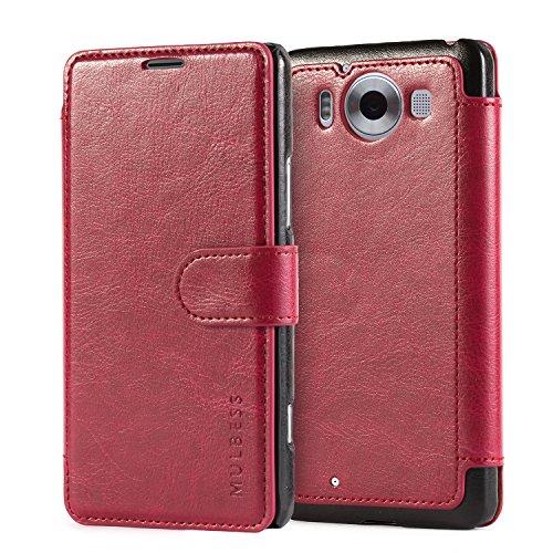 Mulbess Flip Layered Dandy Handyhülle für Lumia 950 Hülle Leder, Lumia 950 Schutzhülle, Lumia 950 Klapphülle, Handytasche für Lumia 950 Tasche, Wein Rot