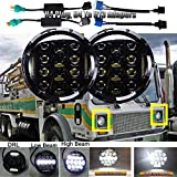 Led Headlights Round 7 inch for Mack DM RM RW RS RL CF Sealed Beam for H5024 H6017 H6024 Conversion Kit with High Beam/Low Beam/DRL Lamps H4 H13 Plug Super Bright