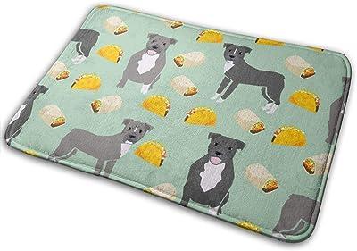 """Pitbull Taco - Dogs and Burritos Design - Mint_19327 Doormat Entrance Mat Floor Mat Rug Indoor/Outdoor/Front Door/Bathroom Mats Rubber Non Slip 23.6"""" X 15.8"""""""