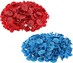 SM SunniMix 200PCS Small Pre-Numbered Livestock Ear Tag for Pig Cow Cattle Goat Sheep, with Gorgeous and conspicuous Color, Blue & Red